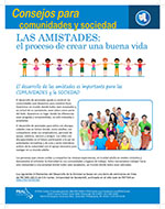Cover Image of Tips for communities and society Friendships Building a Good Life newsletter, click for PDF in spanish