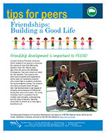 Cover Image of Tips for peers Friendships Building a Good Life newsletter, click for PDF