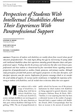 Image of cover of perspectives of student with intellectual disabilities about their experiences with paraprofessional support article