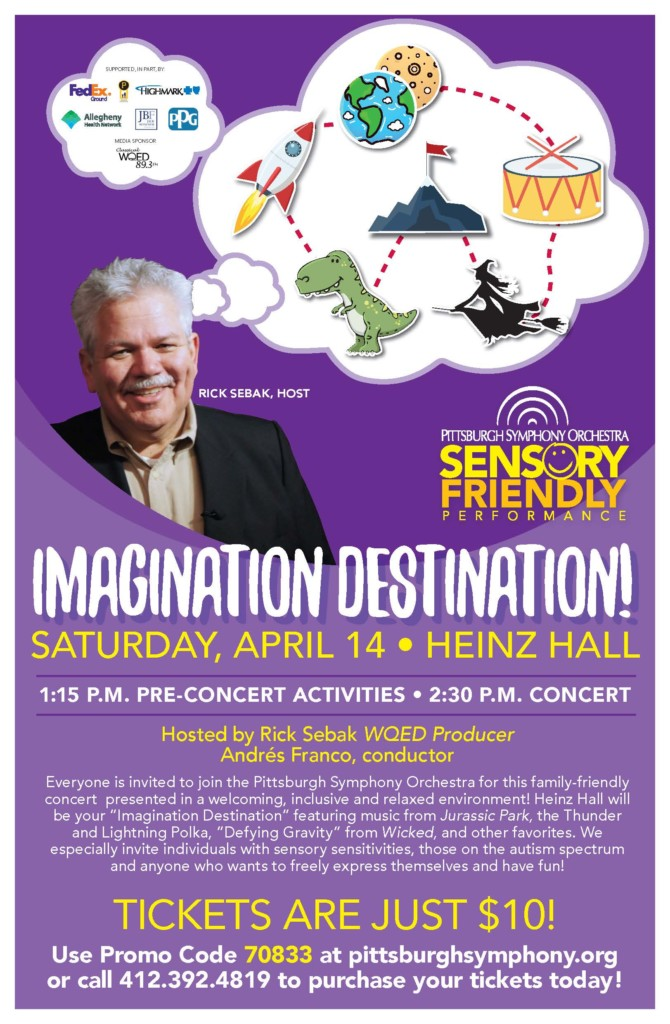 Flyer from the Pittsburgh Symphony Orchestra for their sensory-friendly concert on Saturday, April 14th.